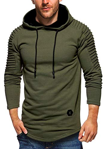 Nietage Men's Pullover Hoodie Pleated Raglan Long Sleeve Hooded T-Shirt Slim Fit Sweatshirt (HS80-Man ArmyGreen XL) (Buckle Hooded Sweatshirt)