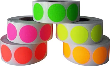 3 4 75 color coding dot stickers fluorescent neon collection 500 of each
