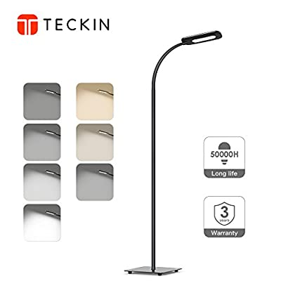 LED Floor Lamp, TECKIN Reading Standing Lamp with Gooseneck for Living Room, Eye-Caring Touch Control Light, 8W, 3 Color Temperatures, 4 Level Brightness-Black