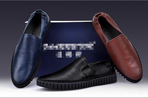 Happyshop (tm) Uomo Vera Pelle Causale Affari Slip On Scarpe Mocassini Scarpe Auto Suola In Gomma Mocassino Marrone