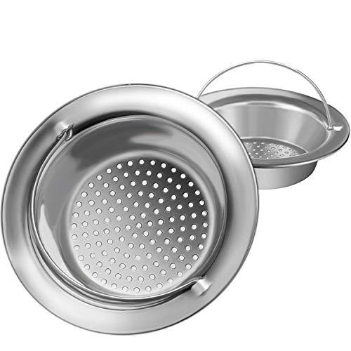 2PCS Upgrade Kitchen Sink Strainer with Handle, Premium Stainless Steel Sink Garbage Disposal Stopper Mesh Basket, Wide Rim 4.33