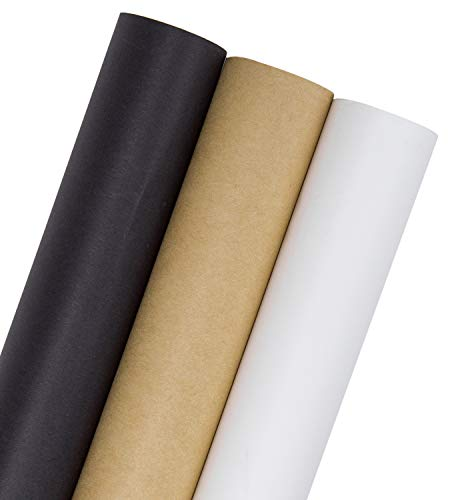 RUSPEPA Kraft Wrapping Paper Set- 3 Roll (Kraft,White,Black) for for Wedding,Birthday, Shower, Congrats, and Holiday Gifts - 30Inch X 32.8Feet Per Roll