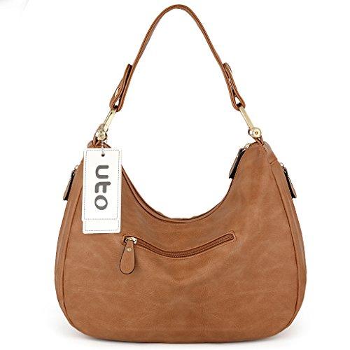 Leather UTO Women Style Tan Bag PU Handbag Shoulder Purse Brown Hobo FqH1twq