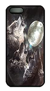 Cool Design Wolves Always Howl at the Moon Printed Hard Plastic Case Shell Cover for iphone 6 plus Black PC Material WANGJING JINDA
