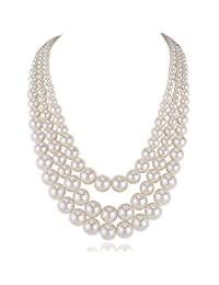 "Kalse Multiple 3 4 5 Layer Simulated Pearl Strand Bib Pendant Long Necklace 17.3""-25"""