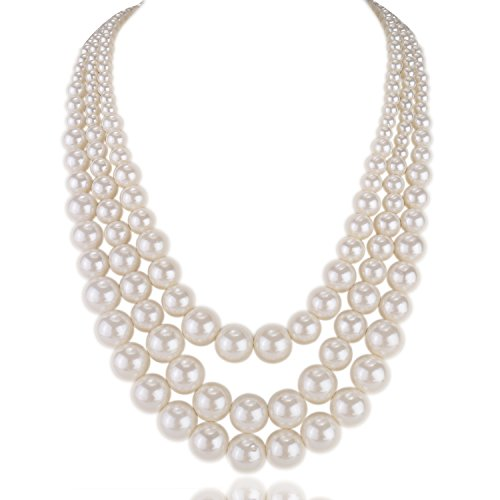 Kalse 3 Layers Strand Simulated Pearl Strand Bib Pendant Choker Chain Necklace (3 Strands) (3 Strands 9mm)