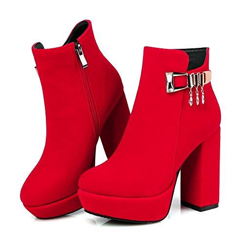 AllhqFashion Mujeres Sólido Plataforma Tacón ancho Cremallera Botas con Colgantes Rojo