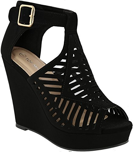Top Moda Women's Abella-3 Wedge Sandal (7, Black)