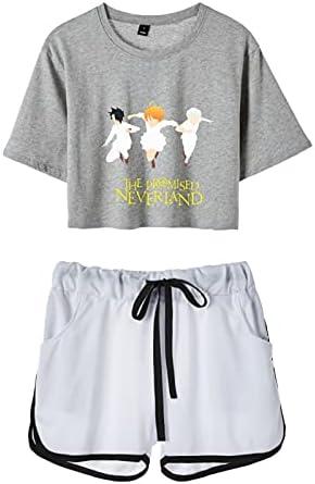 Trajes de Camiseta y Pantalones Cortos The Promised Neverland Emma Norman Ray Harajuku Streetwear Loungewear Conjuntos de Pijamas