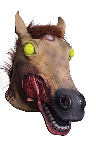 Morbid Enterprises Light Up Zombie Horse Head Mask, Brown/Yellow/Red/Black/White, One (Zombie Horse)