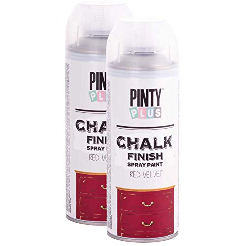 Chalk Finish Spray Paint, Water Based, Eco-Friendly, Superior One Coat Coverage, Dries Fast, PintyPlus, 13.5 oz, 2 Pk Red Velvet