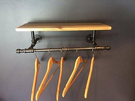 Perchero para ropa, estante para tuberías, de 61 cm, estilo ...