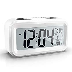 Xliu Battery Operated Cordless Digital Alarm Clock with Date,Temperature,Smart Sensor Light,12/24Hr,Snooze for Bedrooms,Office,Heavy Sleepers,Kids(White)