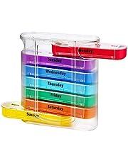EXCEART Wekelijkse pillendoos, dagelijkse pillen-organizer, kunststof vitaminebox voor voedingssupplementen