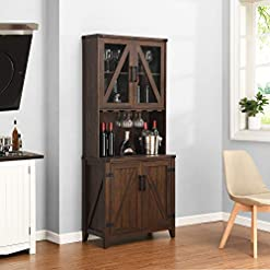 Home Bar Cabinetry Bar Cabinet with Upper Glass Cabinet (Mahogany) home bar cabinetry