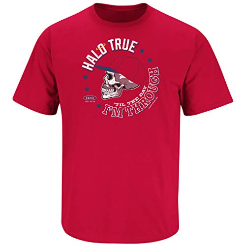 Los Angeles Baseball Fans. Halo True 'til The Day I'm Through Red T-Shirt (Sm-5x) (Short Sleeve, X-Large)