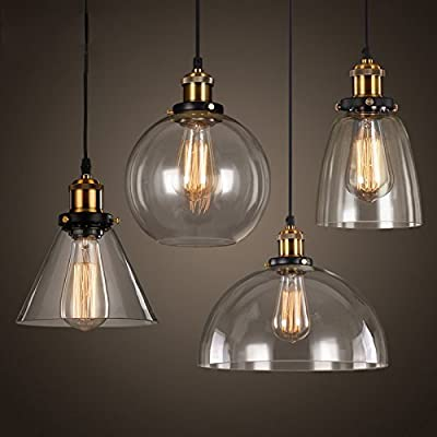Vintage Ceiling Light, MKLOT Ecopower Industrial Retro style One-Light Adjustable Mini Pendant with Handblown Clear Seeded Glass, Brushed Nickel Finish