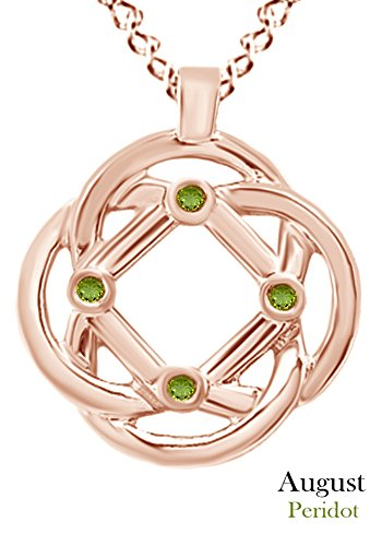 AFFY Round Cut Simulated Peridot Celtic Knot Pendant Necklace in 14k Rose Gold Over Sterling Silver (Knot Celtic Peridot)