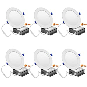 6 Inch Slim LED Recessed Lighting with Junction Box, 15W=120W, 1125LM, Dimmable Wafer Ceiling Light Fixture, 5000K Daylight White Jbox Downlight (6 Pack)