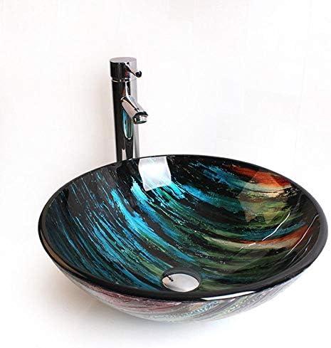 洗面化粧台シンク 現代の強化ガラス容器ボウルシンクでカラーモザイク仕上げのクローム蛇口コンボ、ポップアップシンクドレイン 和風 洋風 お洒落な 節水 節約 (Color : Multi-colored, Size : 42x42x14.5cm)