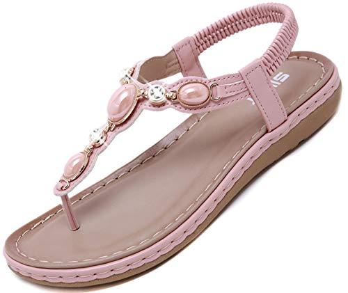 Yozai Womens Rhinestones Sandals Flat Jeweled Summer Flip Flops Pink 9 M - Pink Sandal Jeweled