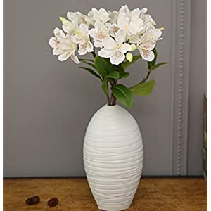 Skyseen 3PCS Artificial Flowers Azalea Blossoms Fake Rhododendron for Home Decor,White 63
