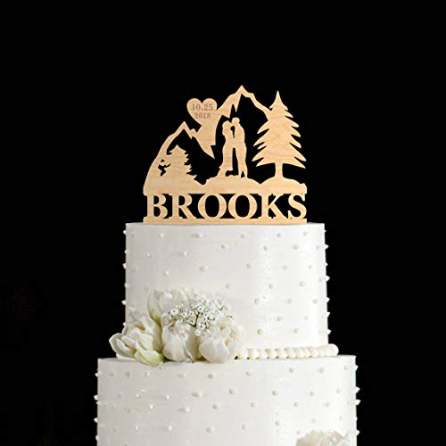 (Custom Name And Date Wedding Couple Silhouette with Mountain Cake Topper)