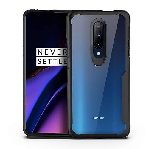 Olixar for OnePlus 7 Pro 5G Bumper Case - Hard Tough Slim Cover - Clear Back - Shock Protection - NovaShield - Wireless Charging Compatible - Black
