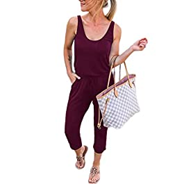 ANRABESS Women's Summer Tank Jumpsuit Casual Loose Sleeveless Beam Foot Elasitic Waist Jumpsuit Romper with Pockets