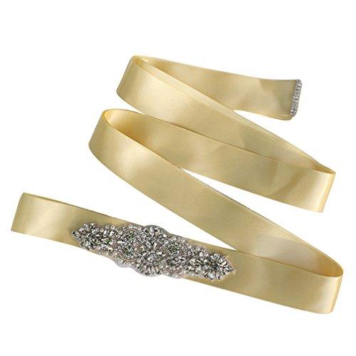 Women Crystal Sparkly Sash Belt - Bride Wedding Belts For Dresses (Champagne)