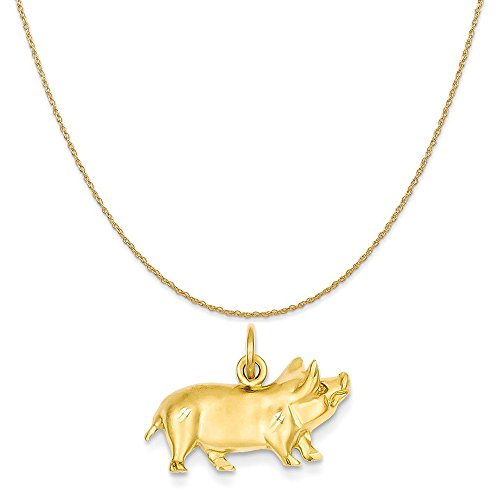 14k Yellow Gold Pig Charm on a 14K Yellow Gold Rope Chain Necklace, 16
