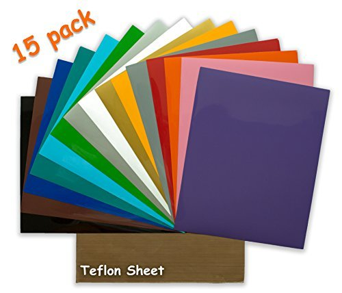 Heat Transfer Vinyl - 15 Pack 12x10 Inch Sheets - Iron On Cricut Silhouette Cameo Press Machine for T-Shirts Clothes - Teflon Paper and Instructions Included by Crafty Ant