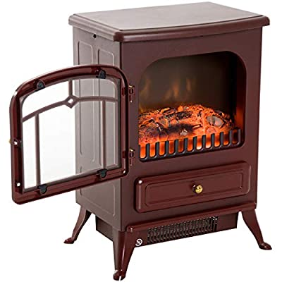 Red Brown 750/1500W Portable Electric Fireplace Stove Heater Adjustable LED Flames with Ebook