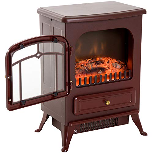 Cheap Red Brown 750/1500W Portable Electric Fireplace Stove Heater Adjustable LED Flames with Ebook Black Friday & Cyber Monday 2019