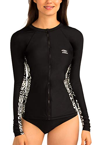 AXESEA Womens Rash Guard Long Sleeve Swimsuit Zip Sun Protection Swim Shirt Top(US 6(Read Seller Size Chart in Image), Twilight)