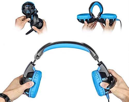 RENKUNDE ゲーミングヘッドセットUSB有線ヘッドセットデュアルオーディオ音質のクリアは、2つの色が選択でき聴覚障害削減します ゲーミングヘッドセット (Color : Blue)