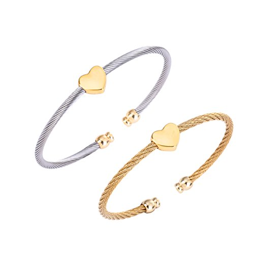 LOCKSUN Adjustable Two Stylish Stainless Steel Wire Twisted Cuff Bangle Bracelets Set Gold and Silver Color with heart-shaped for Women and Girls Gift