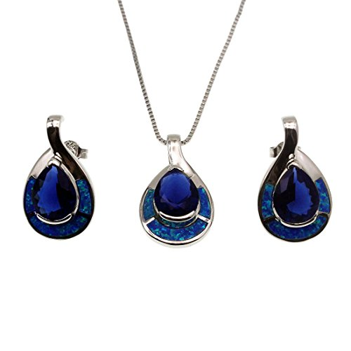 Hermosa Teardrop Sterling Silver Pendant Earring Blue Opal Ocean Sapphire Jewelry (Sets(necklace+earrings)) (Necklace Opal Earring)