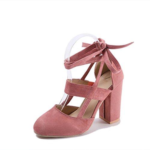 Singoli rotonda Heeled Testa rosa sandali Donne fascetta 42 con spessa la e High scarpe 1pdwRqYd