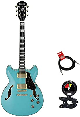 Ibanez as73gmtb Artcore Series Semi-Hollow cuerpo guitarra eléctrica verde menta azul con Clip en sintonizador y Strukture 10 ft cable para instrumento