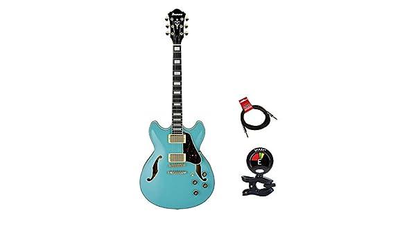 Ibanez as73gmtb Artcore Series Semi-Hollow cuerpo guitarra eléctrica verde menta azul con Clip en sintonizador y Strukture 10 ft cable para instrumento: ...