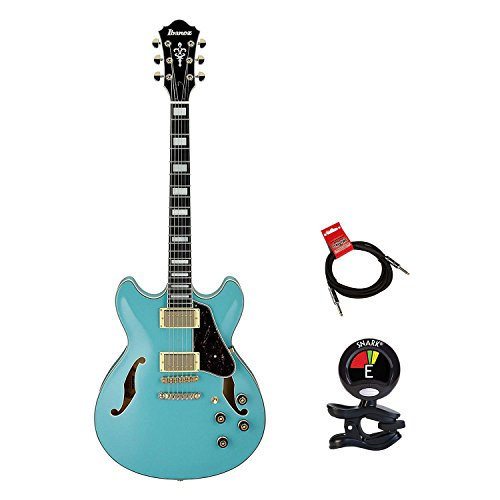 Ibanez AS73GMTB Artcore Series Semi Hollow Body Electric Guitar KIT With Clip On Guitar Tuner and Guitars Cable (Electric Guitar Bundle) in Mint Blue