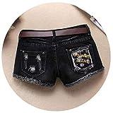 S / 3XL Ladies Black Denim Ripped Shorts Casual Vintage Jeans Club Denim Shorts Without Belt Female Hole Jeans Short,Black,S