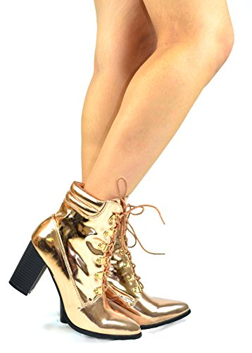 Chase & Chloe Ava-1 Bout Pointu Chunky Talon Lacer Jusquà Bottines Cheville Rose Or Miroir