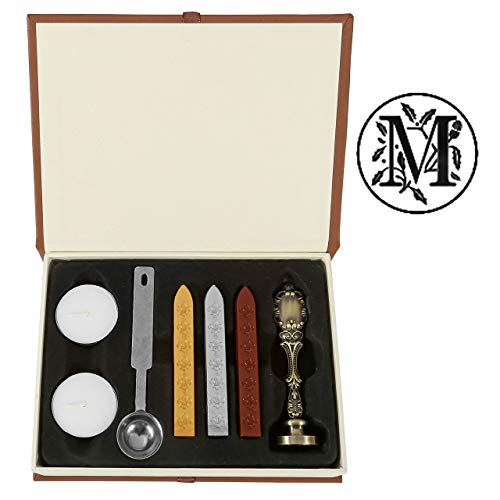 Mornajina Letter M Wax Seal Stamp Set, Vintage Retro Brass Color Alphabet Initial Removable Sealing Stamp Kit (M)