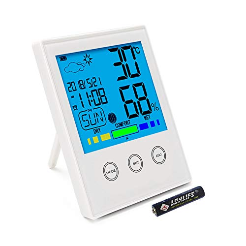 ERAY Digital Thermo Hygrometer Thermometer Large LCD Backlight Desktop with Temperature, Humidity, Time, Date, Alarm Clock, Weather and Comfort Display - Battery Included