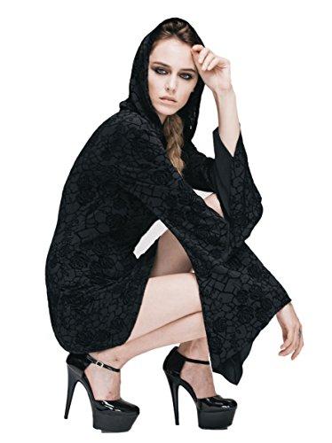 Vestido Larga Fashion Devil Trapecio Negro Para Manga Mujer 45wHgHq