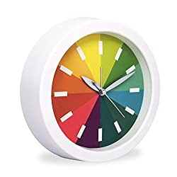 Slash 6.3 Modern Creative Round Rainbow Quiet Non-ticking Sweep Second Hand, Quartz Analog Desk Clock,Battery Operated, Loud Alarm (White)