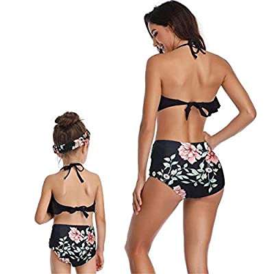 PURFEEL Mother and Daughter Swimwear Family Matching Swimsuit Girls Swimwear at Women's Clothing store