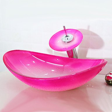 BEY Pink Boat Shaped Tempered Glass Vessel Sink With Waterfall Faucet Pop    Up Drain
